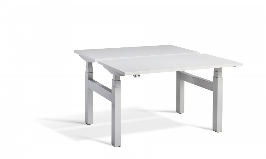Lavoro Duo Height Adjustable Grey Desk - Silver Frame - 1200 x 800mm