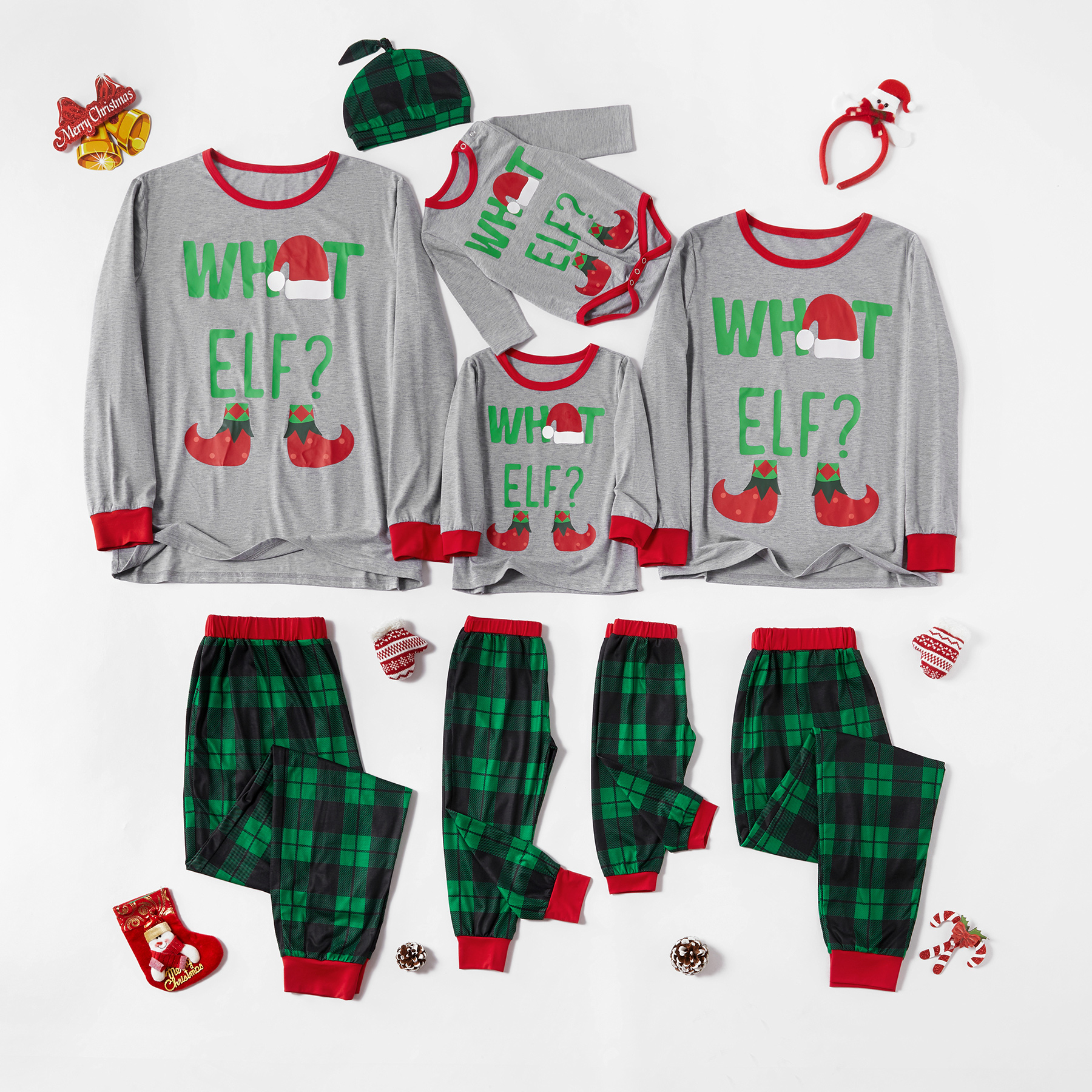 Family Matching What Elf Print Top and Plaid Pants Pajamas Set