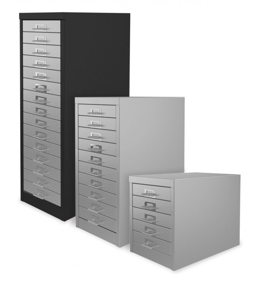 Black and Light Grey 15 Drawer Multi Drawer Cabinet