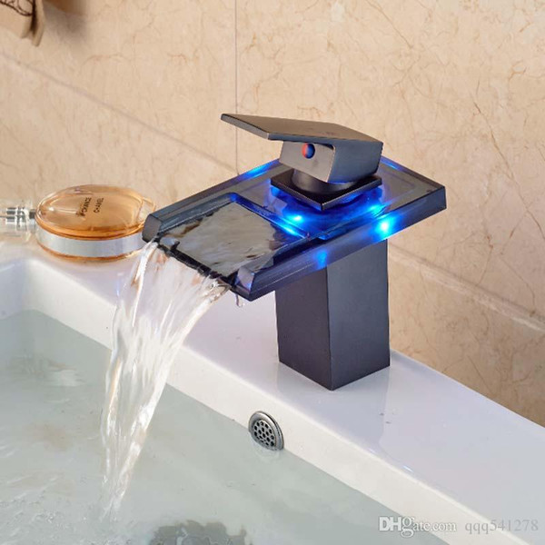 wholesale and retail 3 led color changing waterfall bathroom faucet vanity sink mixer tap oil rubbed bronze