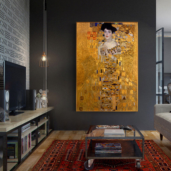 portrait of adele bloch canvas paintings on the wall gustav klimt kiss paintings reproductions canvas prints for living room