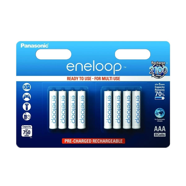 Panasonic Eneloop AAA HR03 Rechargeable NiMH Batteries 750mah AAA - Value 8 Pack