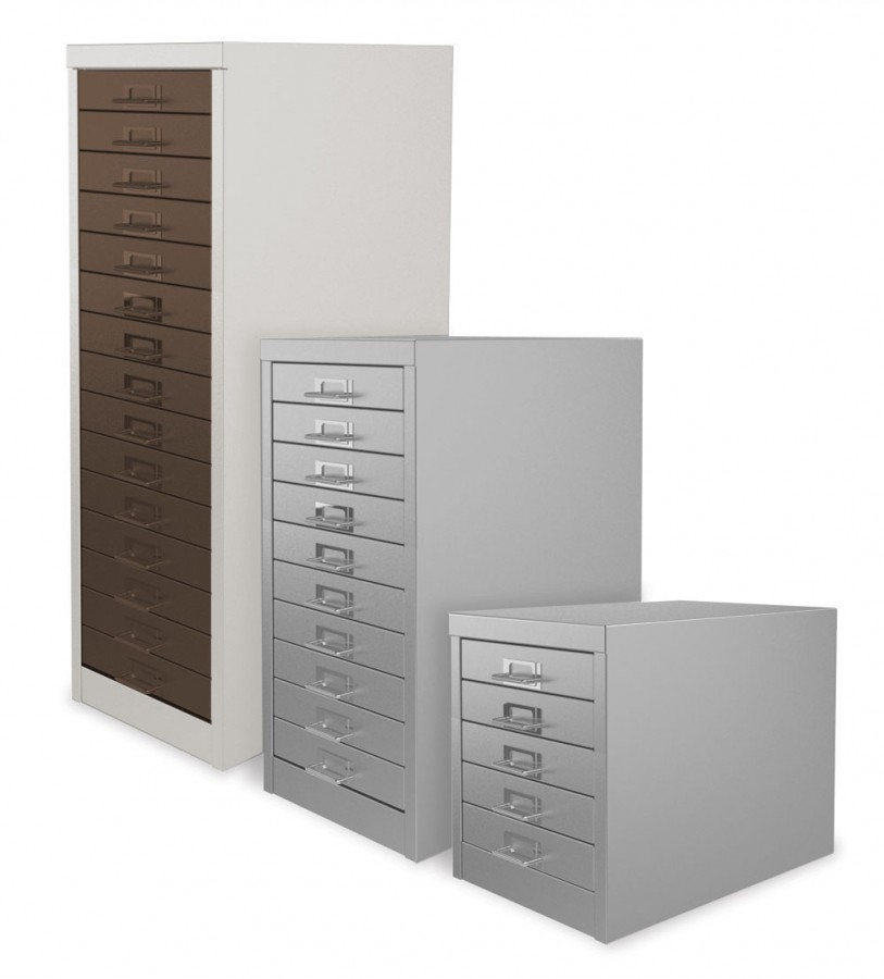 White and Coffee 15 Drawer Multi Drawer Cabinet