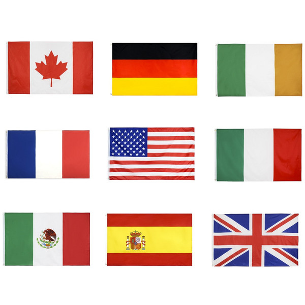 National Flags All Countries 90x150cm American USA UK United Jack Germany France Italy Ireland Mexican Canada Spain Flags Cheap