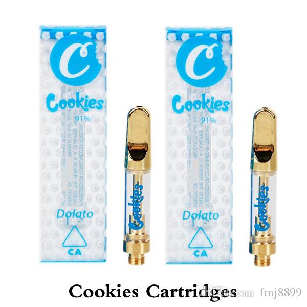 Cookies Carts 1.0ml Gold Ceramic Coil Vape Cartridge TH205 Thick Oil Glass Tank With 11 Flavors Stickers For Preheat Battery