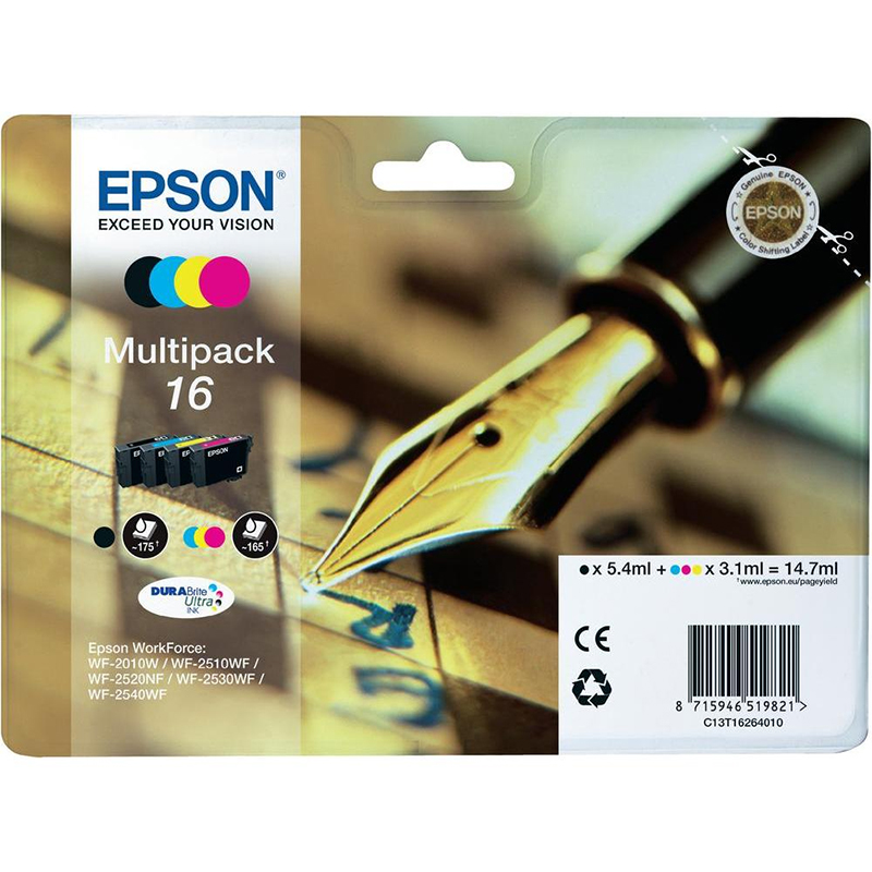 Epson Original 16 T1626 Pen and Crossword 14.7ml Extra Value 4 Cartridge Multipack