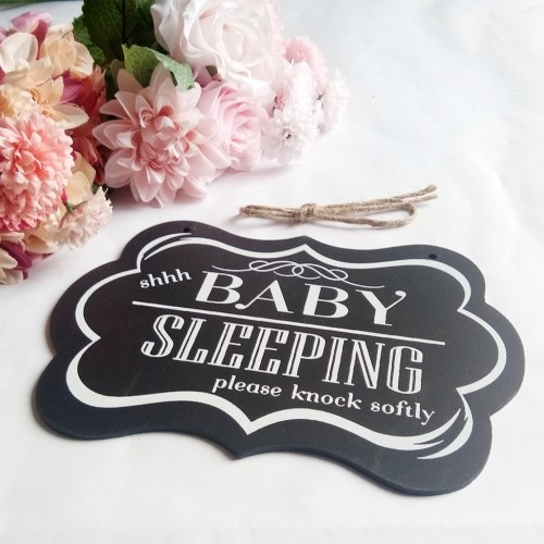 Wall Hanging Ornament Painted Wood Decorative Shhh Baby Sleeping Door Sign Black Decoration for Home Party Supply Style 1