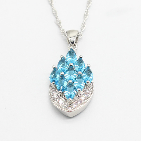EIOLZJ Trendy 925 Silver Pendant Necklace for Women and Girls Blue Crystal White Zircon 925 Stamp Necklaces Free Jewelry Box