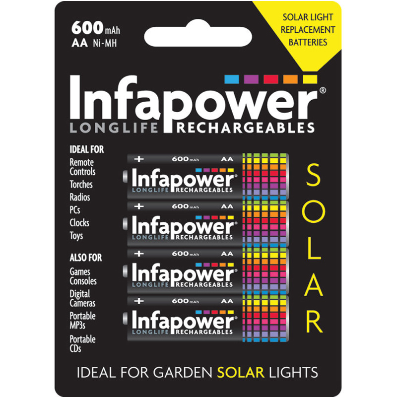 Infapower 600mAh AA Longlife Rechargeable Batteries - 4 Pack