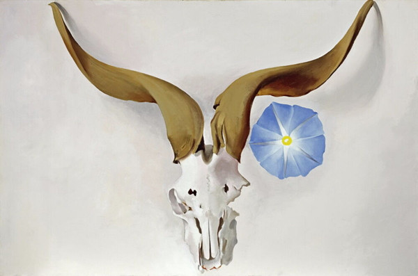georgia o'keeffe ram's head blue morning glory home decor handpainted &hd print oil paintings on canvas wall art pictures 191114