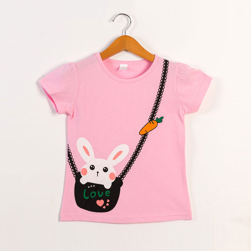 Lovely Rabbit Faux-bag Short-sleeve Tee in Pink