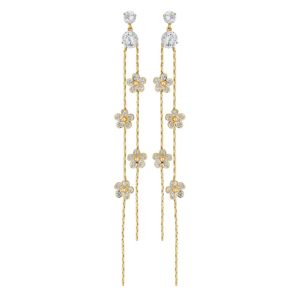 Gold Plated Clear Cubic Zirconia Flower Drop Earring