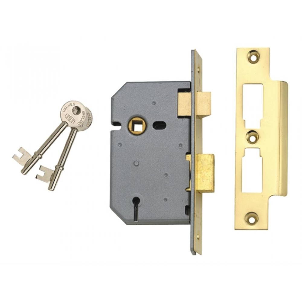 Union 2277 3 Lever Mortice Sash Lock Polished Brass 77.5mm 3in Boxed