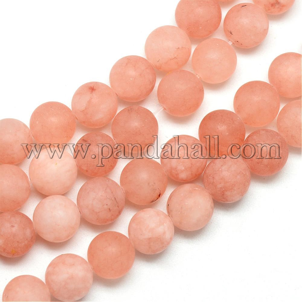 Natural White Jade Bead Strands, Dyed, Frosted, Round, DarkSalmon, 8~9mm, Hole: 1mm; about 46~48pcs/strand, 14.9