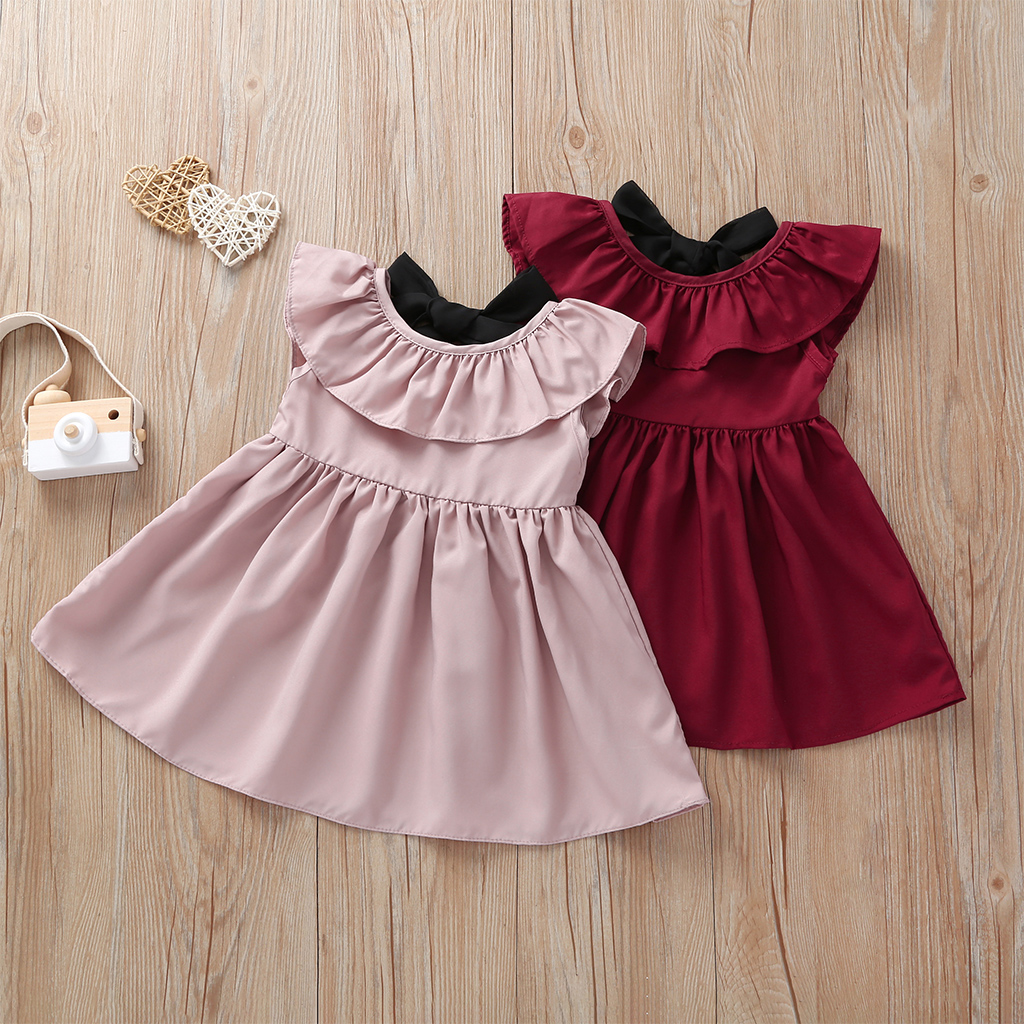 Sweet Solid Flounced Collar Backless Bow Sleeveless Dress for Girls