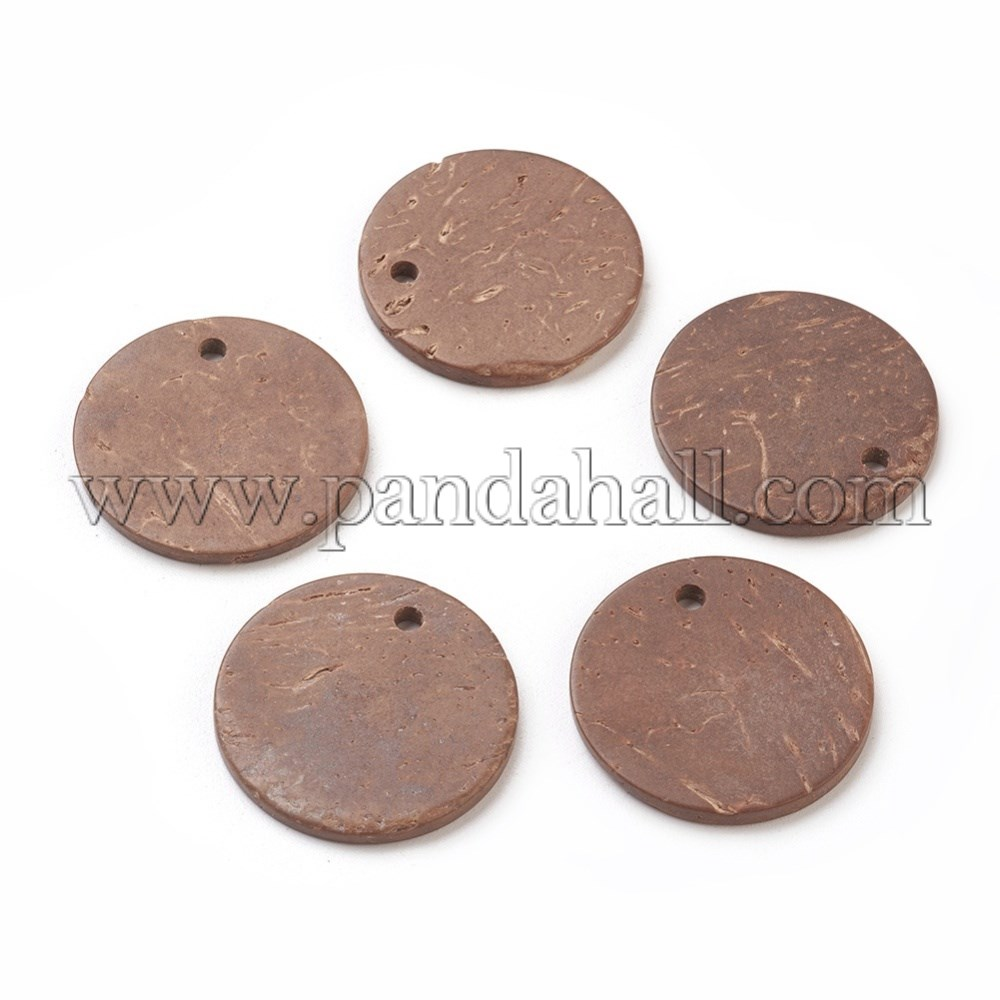 Coconut Shell Pendants, Flat Round, CoconutBrown, 25~25.5x2.2mm, Hole: 2.2mm