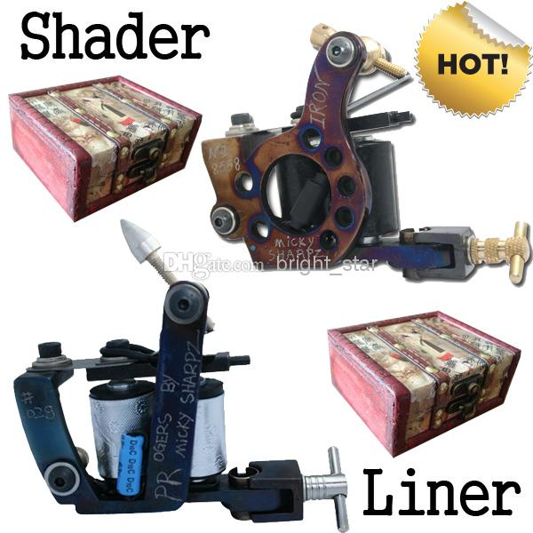 Hot! 2 Handmade Tattoo Machine Gun Shader Liner + 2 Free Wooden Boxes T6