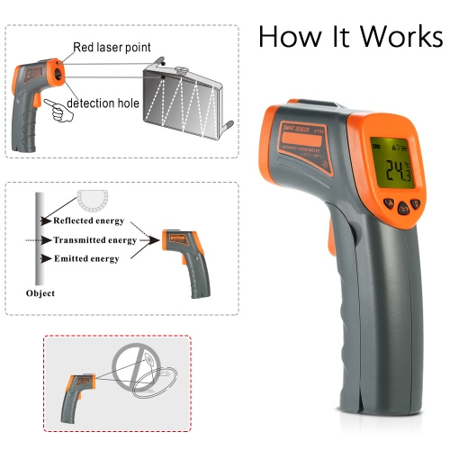 SMART SENSOR -32~380? 12:1 Portable Handheld Digital Non-contact IR Infrared Thermometer Temperature Tester Pyrometer LCD Display with Backlight Centigrade Fahrenheit