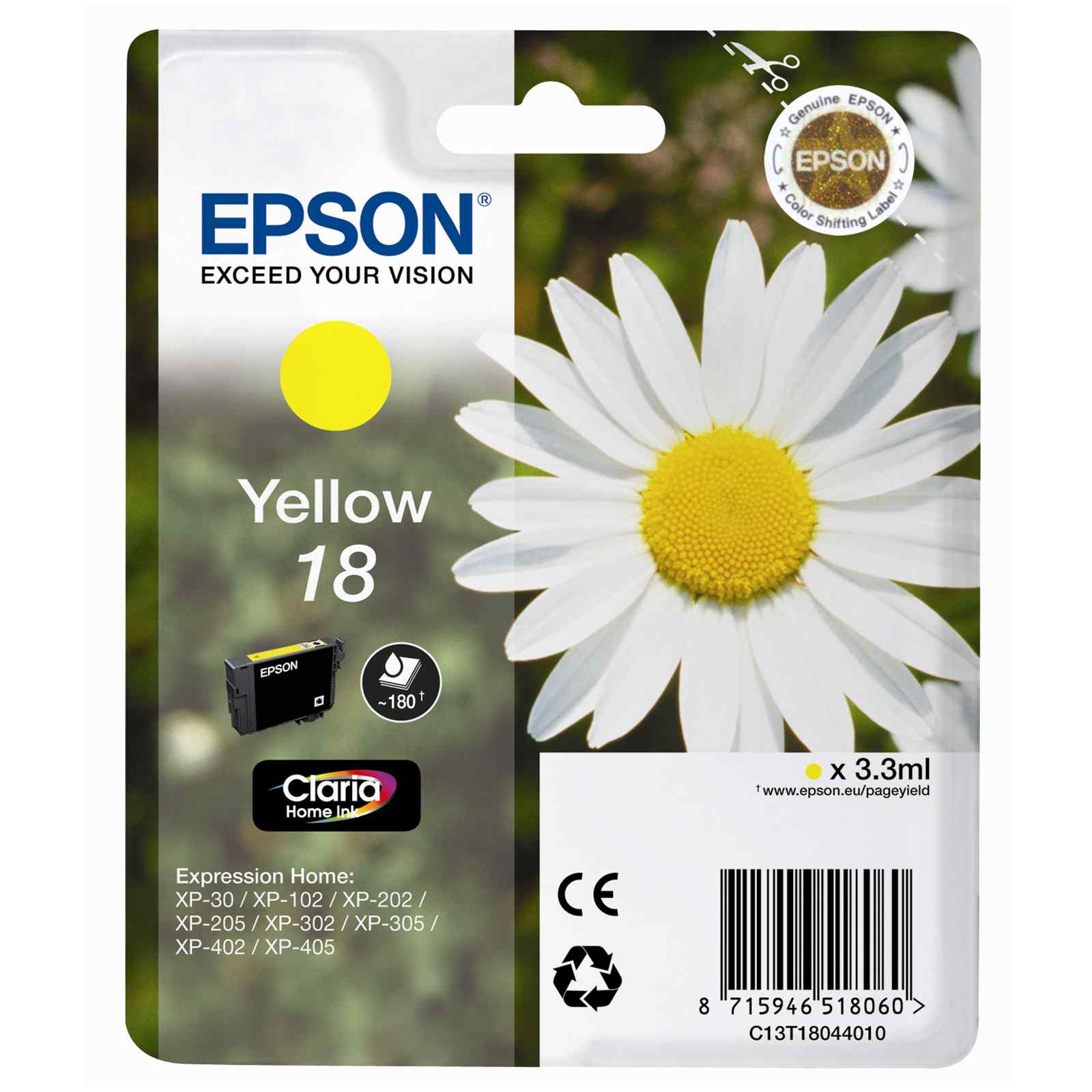 Epson Original 18 T1804 Daisy Ink Cartridge 3.3ml Yellow