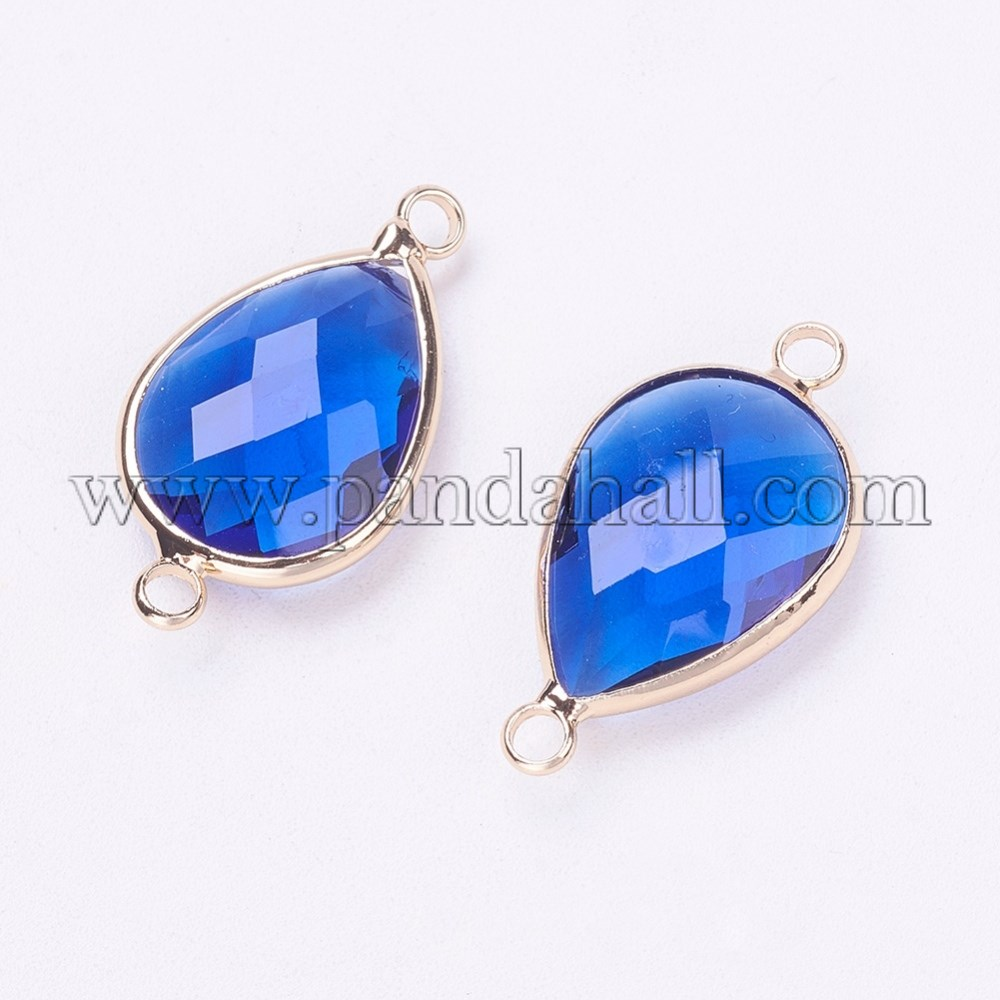 Glass Links, with Brass Findings, Faceted, Drop, Light Gold, RoyalBlue, 25.5x14x6mm, Hole: 2.5mm