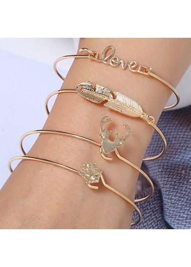 Elk Shape Gold Metal Bracelet Set for Women