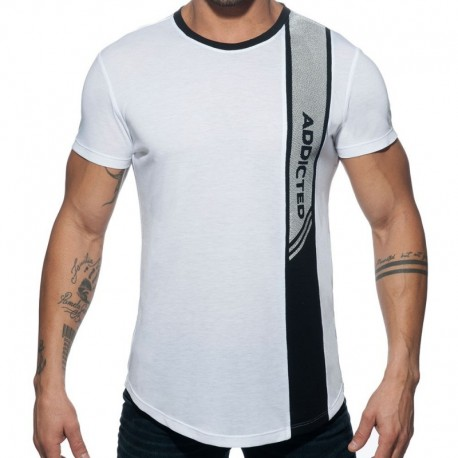 Addicted Vertical Stripe T-Shirt - White XL