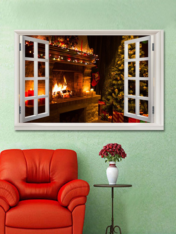 Christmas Fireplace Tree Print Wall Art Sticker