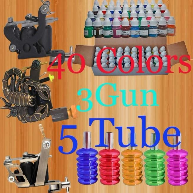 Pro 40 Inks 8ML/Bottle Pigment 3 Machines Tattoo Kit With 5 Aluminum Tube Grips Tattoo Supply