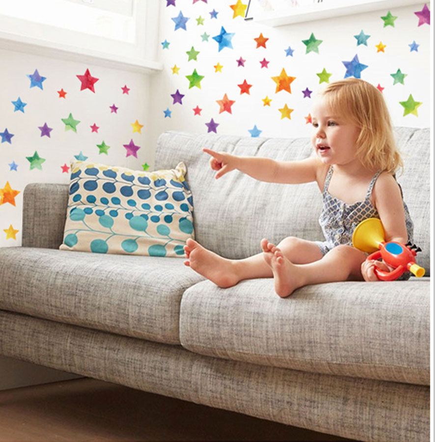 Colorful Stars Sticky Wall Decor