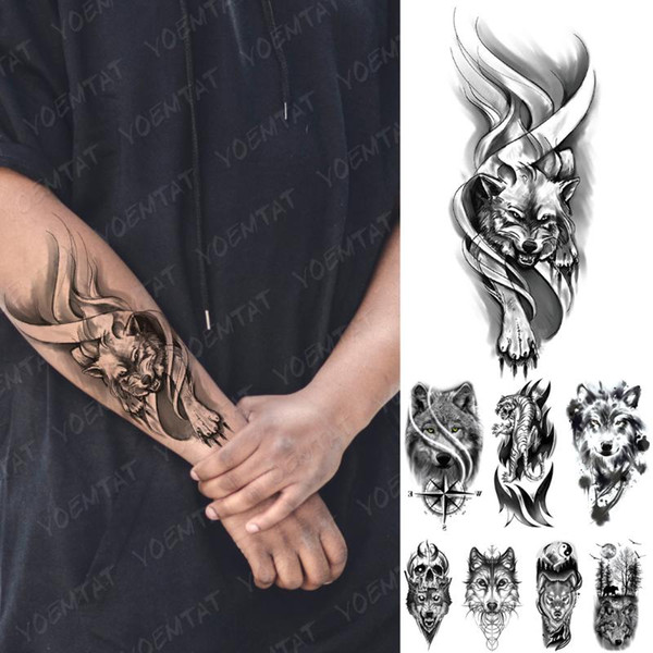waterproof temporary tattoo sticker wolf tiger compass forest tattoos moon bird skull body art arm fake sleeve tatoo women men