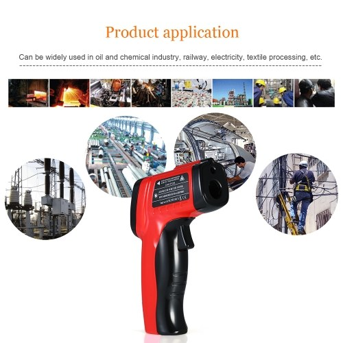 -50~550?(-58~1022?) Handheld Non-contact IR Infrared Thermometer 12:1 Digital Temperature Tester Pyrometer Color LCD Display with Backlight Centigrade Fahrenheit Adjustable Emissivity