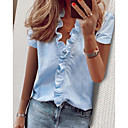 Women's Work Blouse Shirt Solid Colored Ruffle V Neck Tops Puff Sleeve Basic Top White Blue Green