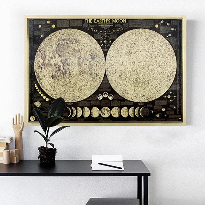 Full Moon Retro Kraft Paper Interior Painting