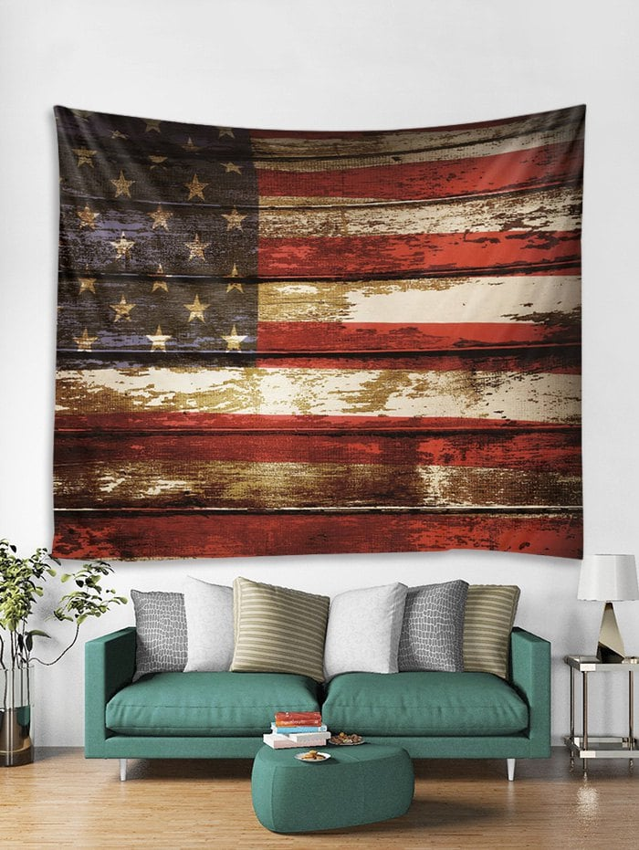 American Flag Wooden Art Decoration Wall Tapestry
