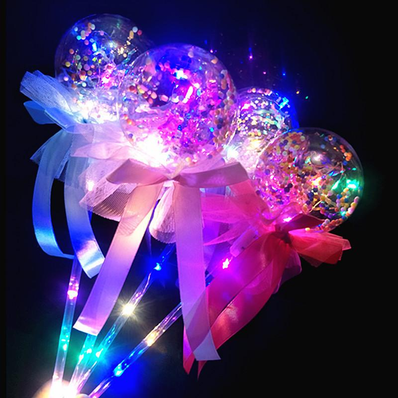 Kids LED Glowing Sticks Toys Flashing Lights Handheld Balloon Magic Stick Bowknot Luminous Ball Wedding Party Decor Valentine's Gift B81402