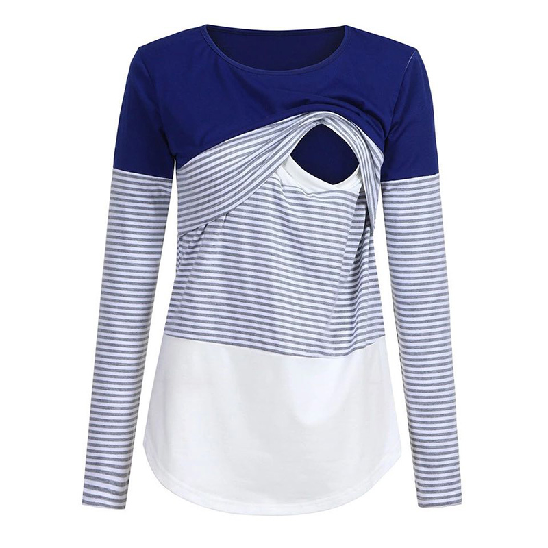 Casual Striped Long-sleeve Nursing Tee