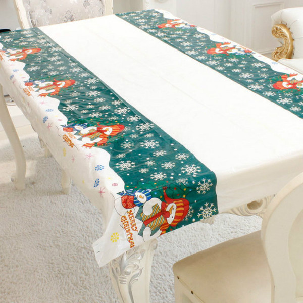 180cm christmas ornaments christmas tablecloth rectangular pvc party table covers home kitchen dinner table decoration new year