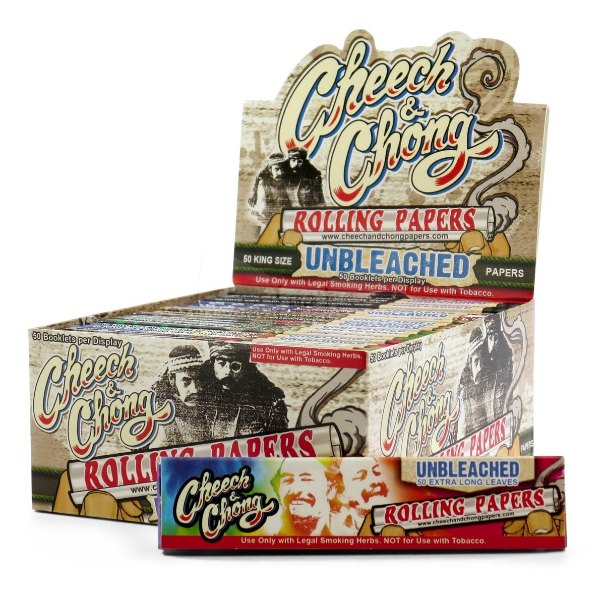 Cheech and Chong Unbleached King Size Rolling Papers Box