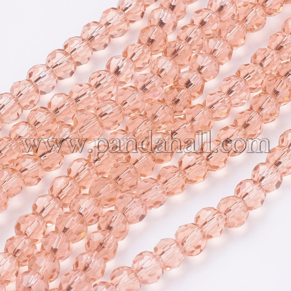 Glass Beads Strands, Faceted, Round, LightSalmon, 4mm, Hole: 1mm; about 98pcs/strand, 13.7