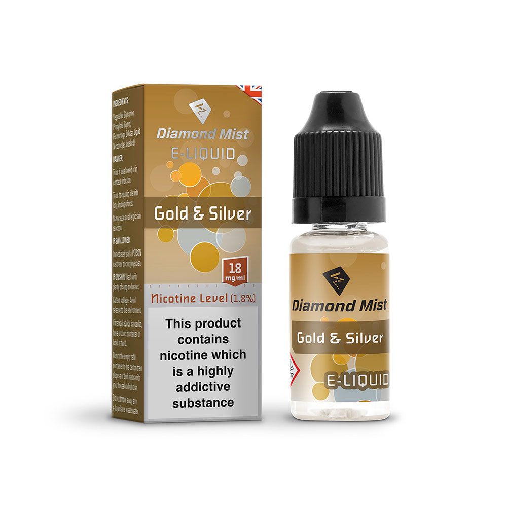 Diamond Mist E-Liquid Gold and Silver 10ml - 18mg Nicotine