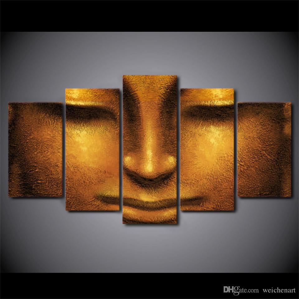 5 Pcs/Set Framed HD Printed Creative Face Of Golden Buddha Picture Wall Art Canvas Decor Poster Canvas Abstract Oil Painting