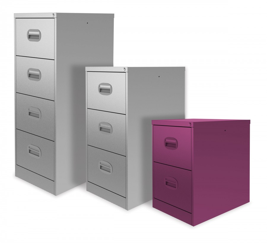 2 Drawer Lockable Filing Cabinet- Traffic Purple