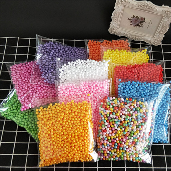 2000pcs/lot 7-9mm polystyrene styrofoam plastic foam mini beads ball diy assorted colors decorate christmas decoration new year