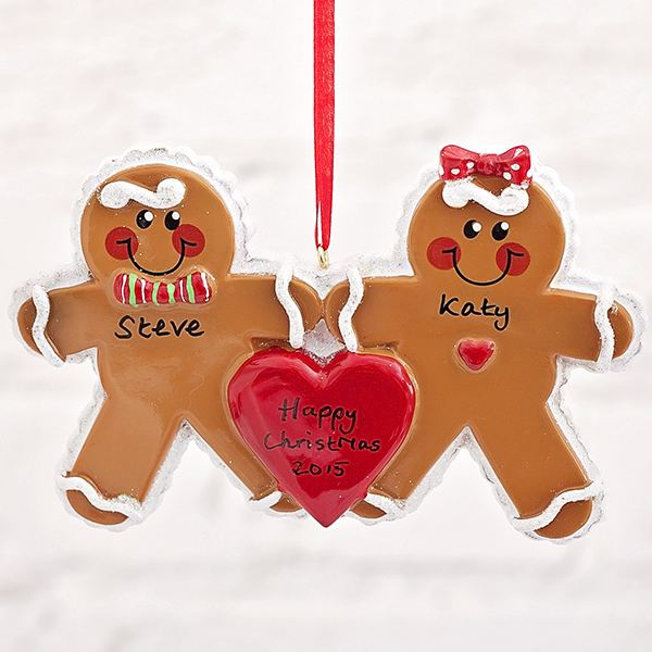 Personalised Gingerbread Couple Hanging Ornament